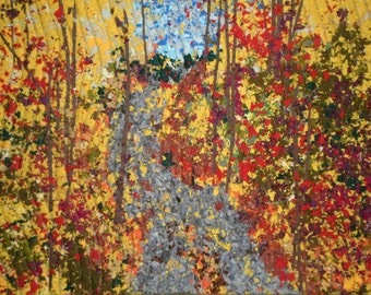Quilted Wall Hanging, Art Quilt,Fabric Art, Home Decor, Textile Art, Confetti Quilt, County Road, Linda Voth, Fall Colors, Gold Red Green