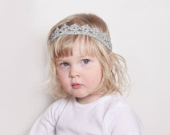 Silver Crown Headband, Baby Tiara, Toddler Crown Headband, Birthday Crown, Flower Girl Crown, Baby Photo Prop Crown, Silver Wedding Crown