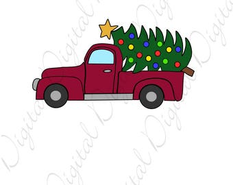 Red Truck Christmas Tree SVG and Studio 3 Cut File Cutouts Files - Logo Stencil for Silhouette Cricut File SVGS Decal  Download Holiday