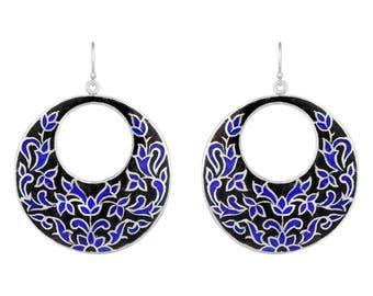 Sterling Silver Drop Earrings, Blue Enamel Earrings, Dangle Drop Earrings, Handmade Earrings,Gift for Her,Women's Day Gift,Blue Disc Earring
