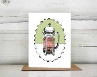 Illustrated French Press greeting card