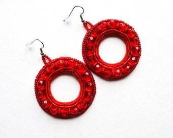 Large Red hoop bead embroidered earrings Statement circle earrings Bold beaded earrings Beadwork Round earrings Trendy seed bead earrings