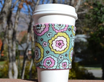 FREE SHIPPING UPGRADE with minimum -  Coffee cozy / cup holder / coffee sleeve / coffee cup cozy -- Chocolate Lollipop