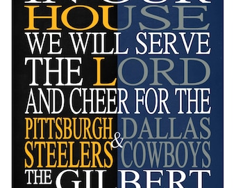 A House Divided - Pittsburgh Steelers and Dallas Cowboys personalized family Christian gift sports art -Instant Download