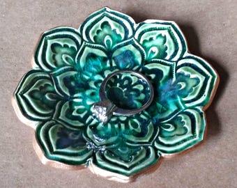 Ceramic Lotus Ring Dish with gold edging Peacock green