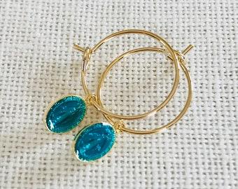 Rings VIRGINIA 3 Micron gold plated & Turquoise hoop earrings