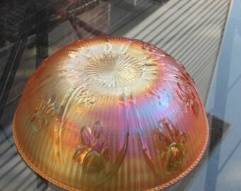 Vintage Jeannette Iris Large Fruit Bowl Flora Gold
