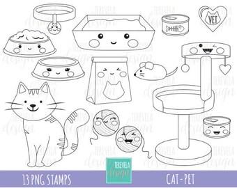 50% SALE CAT stamp, commercial use, kawaii stamp, digi stamp, pets digi stamp, digital image, coloring page, printable graphics, cat clipart