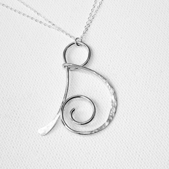Silver Letter B: Letter Necklace Silver Letter B Necklace Personalized Necklace