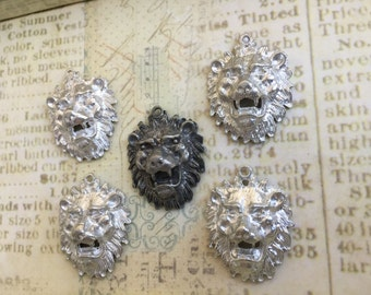 SALE Cast Lion Pendant lead free pewter pendant made in USA set of 5 Destash