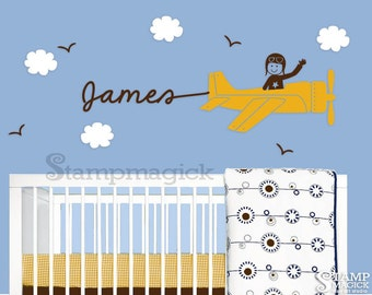 Airplane Wall Decal Sticker - Plane Vinyl Wall Decal Decor Graphics with Name for Nursery Baby - K045