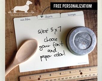 Tabby. 5x7 Recipe Divider Cards -- (Kraft Paper, Wedding Gift, Bridal Shower Favor, Organization, Tabs, Free Personalization, Gift Under 15)