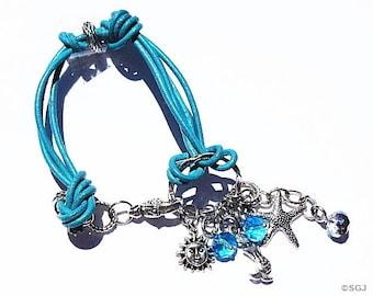 Nautical Leather Charm Bracelet, Beach Theme Jewelry,  Mermaid Charm , Starfish Charm , Gifts For Her , GIrlfriend GIfts