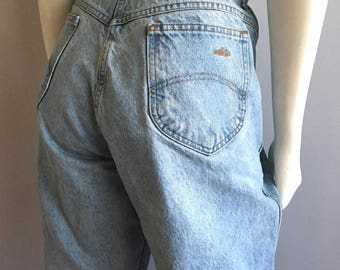 Vintage Women's 80's Chic Jeans, High Waisted, Light Wash, Denim (XL)