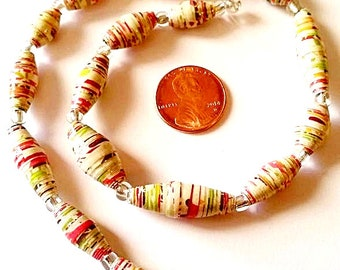 Unique Paper Beads - Handmade  - Strand of 16 - PM78