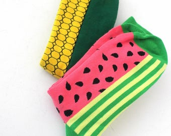 Socks, colorful, funny socks, 2pair,Melone and Corncob