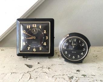 Vintage Clock Baby Ben Westclox Pair of Vintage Clocks/ Clock Display
