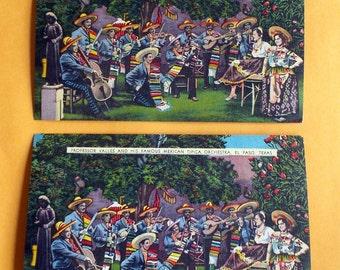 LOT DE 2 cartes postales professeur Valles orchestre mexicain El Paso Texas des années 1940 Magoffin