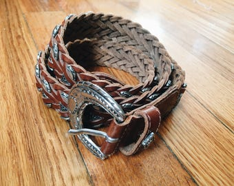 Braided Leather Belt With Silver Buckle and Decorative Hardware