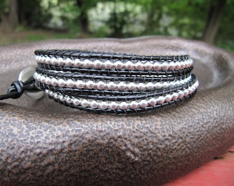Triple Beaded Leather Wrap Bracelet with Silver Beads and Black Leather