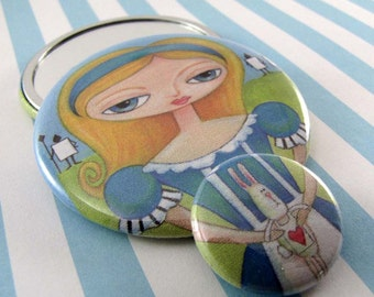 Alice In Wonderland Pocket Mirror with Small Pinback Button