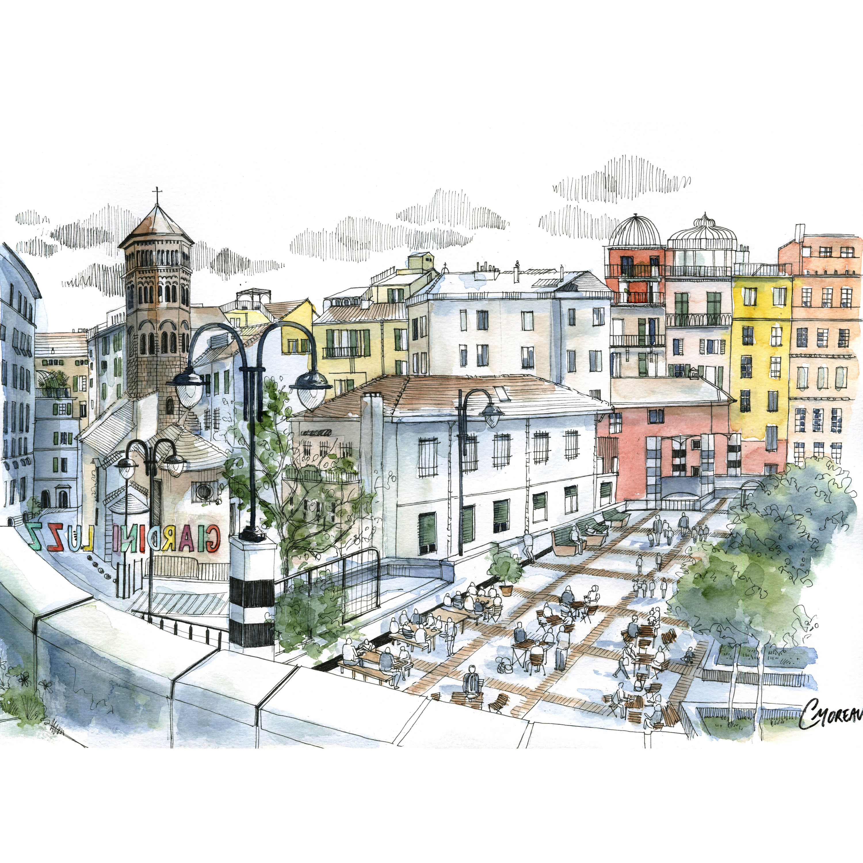 Quadro architettura genova giardini luzzati disegno citt for Architettura giardini