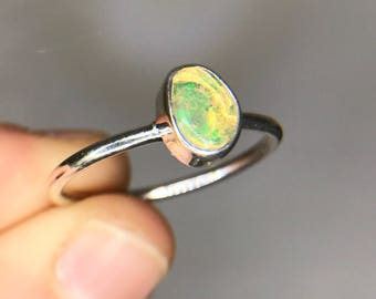 Ethiopian Fire Opal Sterling Silver Ring