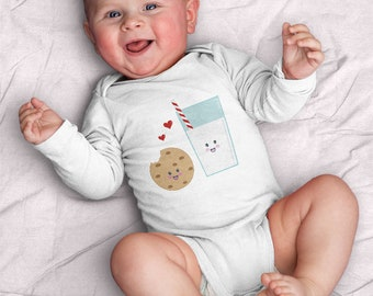 Milk and Cookies Infant Bodysuit (baby shower gifts, milk, cookies, BFF, baby, kawaii, gift for baby, food, yum, treat, love, heart)