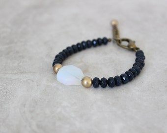 SALE 20% OFF - Opalite + Indigo Jade Bracelet, Gemstone Bracelet