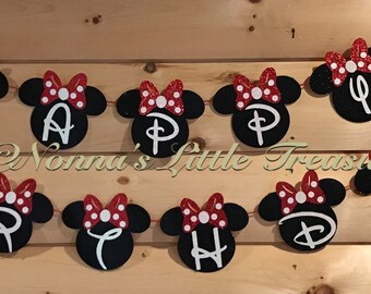 Minnie Mouse Happy Birthday Banner,Birthday Banner,Minnie Mouse First Birthday,First Birthday