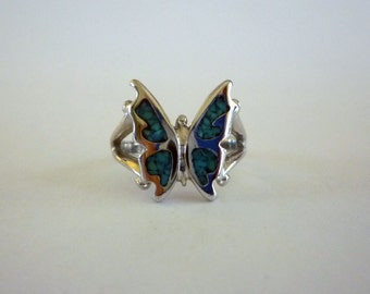 Very Small Turquoise Inlay Butterfly Ring, Size 4