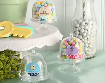 50 Personalized Baby Shower Mini Cake Stand Plastic Box Favors - Set of 50