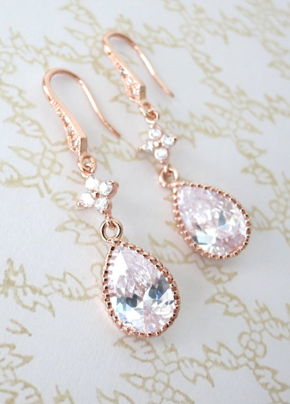 Rose Gold Cubic Zirconia Teardrop Earrings - gifts for her, earrings, bridal gifts, drop, dangle, pink gold weddings, bridesmaid earrings