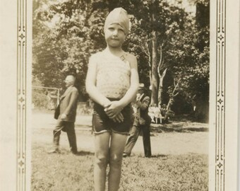 vintage photo 1930s Little Girl in Her Swimsuit and Cap