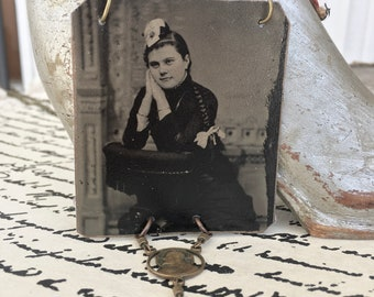 Rosy Cheeked Young Lady Vintage Tintype Photo, Rosary Necklace