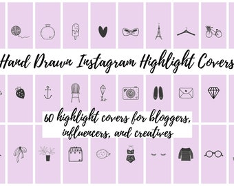 60 Lavender Hand Drawn Instagram Story Highlight Cover Icons | Fashion, Beauty, Lifestyle, Decor, Craft, Handmade, Bloggers, Influencers