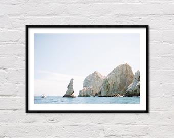 Cabo Print, Beach Wall Art, Lover's Beach, Modern Coastal Decor, Blue Water, Ocean Photography, Cabo San Lucas, Mexico, Digital Download