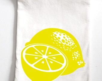 Lemons Towel, Flour Sack Towel, Tea Towel, Kitchen Towel, Dish Towel, Lemon, Cotton Towel, silkscreen, screen print, fruit towel, fruit gift