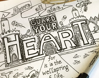 Printable Christian Coloring: Bible verse illustration, castle drawing, guard your heart, hand drawn verse, kids coloring