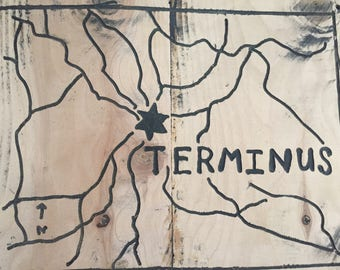 The Walking Dead, Terminus, map, wood, TWD, hand made made, carved, hanging, sign
