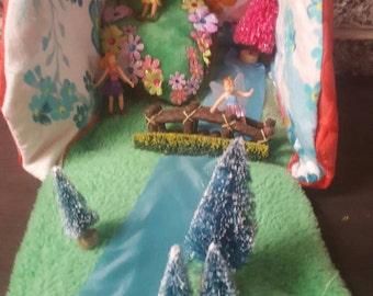 Fairy land portable playhouse with three fairies
