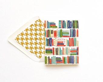 Happy Birthday Bookshelf gold foil library titles