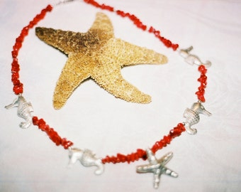"""Coral & Silver Nautical Necklace 22"""""""