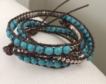 Sale!!Trendy Turquoise Bracelet Vegan Leather Wrap Bracelet Beaded,Turquoise Bracelet, Boho Wrap,Best Selling Wrap