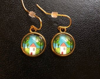 gold tree house earrings