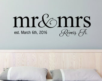 Mr & Mrs Wall Decal Sticker Personalized