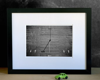 Black and White Original Photography Print, Urban Landscape- Parking Lot, Home Decor, Affordable Art
