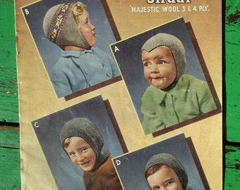 Vintage 40s Knitting Pattern Boys' Hats Helmets 40s original colour pattern Sirdar 1301 UK - retro children's knits -  WW2 wartime style