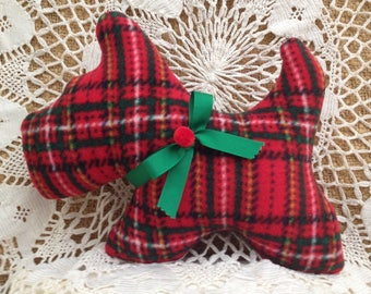 SOLD - Contact Seller for Ordering Info. Red Tartan Scottie Stuffie - Handmade