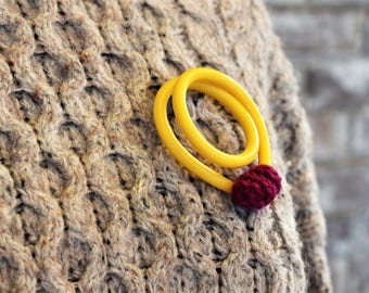 Yellow vintage knitting needle brooch with purple yarn decoration, large quirky handmade knitting brooch, gift for knitters